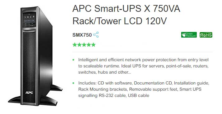 APC SMX750 Smart-UPS X 750VA UPS Battery Backup Rack/Tower LCD 120V